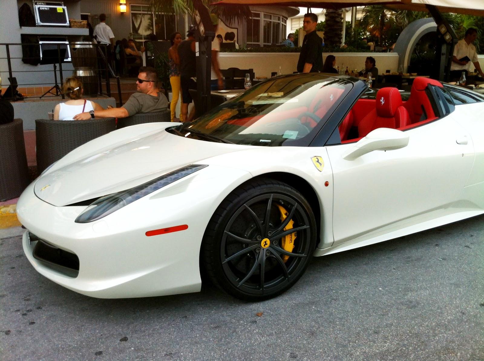 White Ferrari 458 Italia Spider on South Beach | Exotic ...