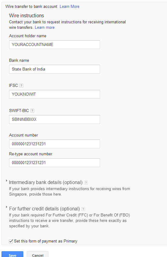 Google Adsense Wire Transfer to SBI India | MoQAs