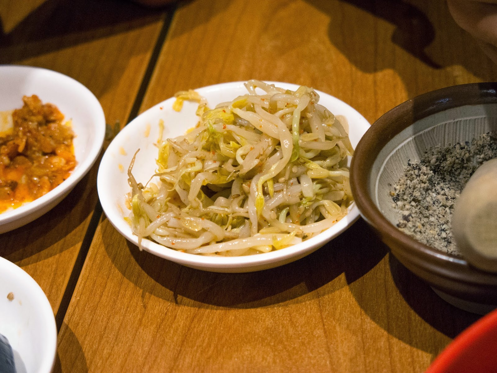 free marinated bean sprouts at keisuke