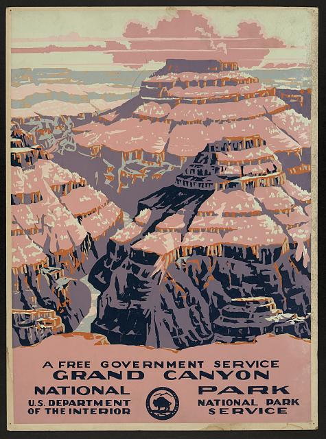 classic posters, free download, graphic design, national park, retro prints, travel, travel posters, vintage, vintage posters, federal art project, wpa, Grand Canyon National Park, US Dept of Interior - Vintage Travel Poster