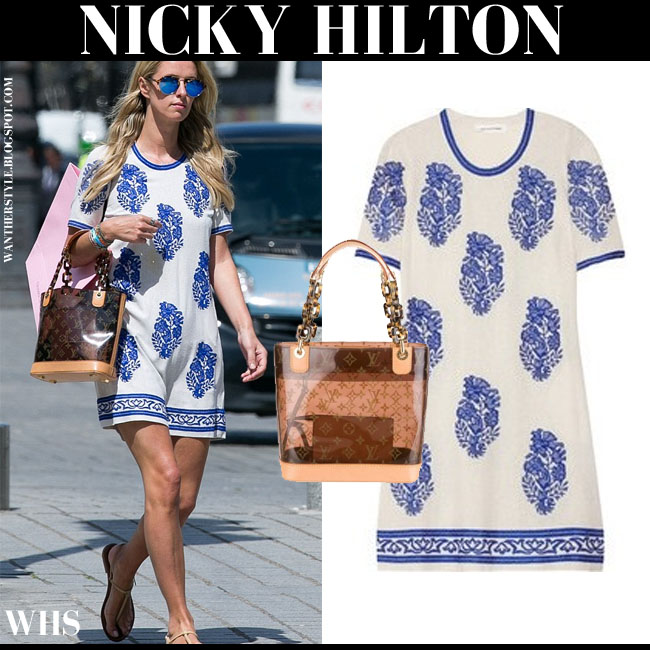 Nicky Hilton in white blue flower print silk mini dress Isabel Marant Daryl June 3 what she wore summer chic style