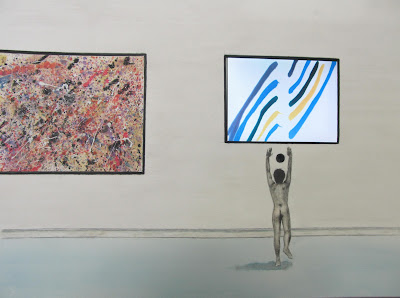 Nude Artist Worshiping at the Altar of Modern Art - Watercolor and Embedded Electronics by F. Lennox Campello, 2012