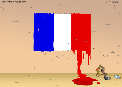 toulouse france jewish school shooting terrorism french flag painting on wall red bleeding blood running down pool bullet holes marks teddy bear childs shoes