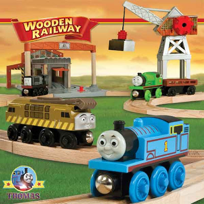 Fun train toy Thomas and friends wooden railway Percy at the Dieselworks set track layout building