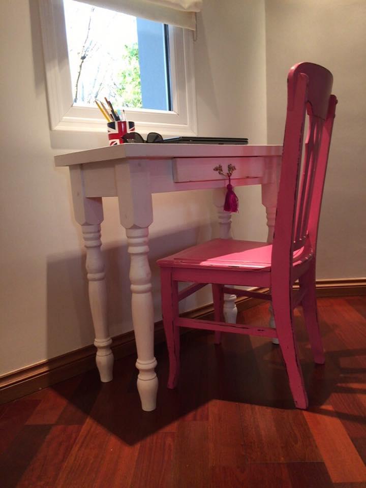 Vintouch muebles reciclados pintados a mano mesa - Mesas de escritorio antiguas ...
