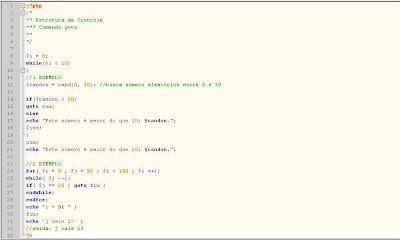 Exemplo de uso do comando goto em php