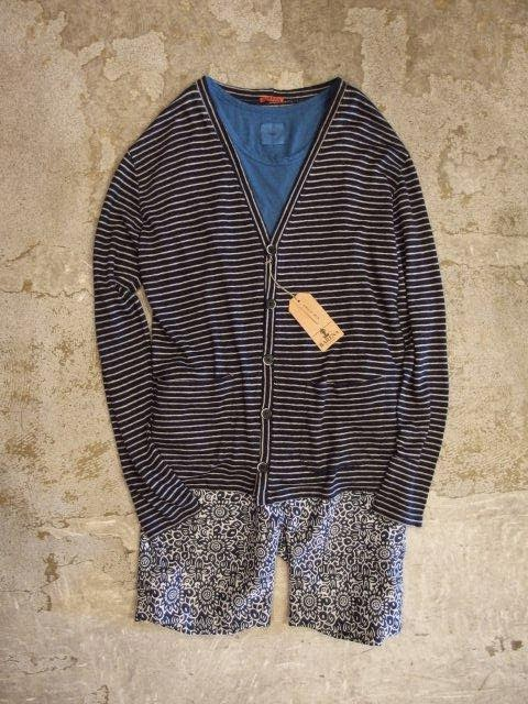 BARENA 2 Patch Pocket V-Cardigan in Navy / 3×1 Stripe Spring/Summer 2014