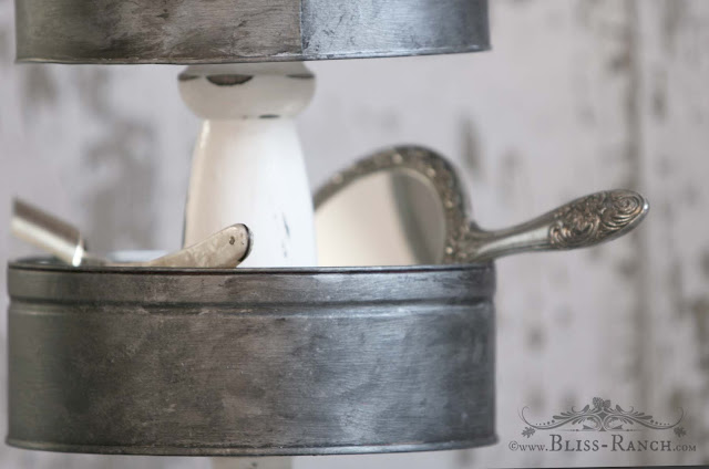 Old Tins Tiered Stand, Bliss-Ranch.com #ThriftStoreDecor