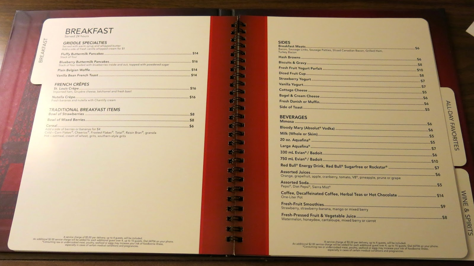 Bally Room Service Menu Las Vegas