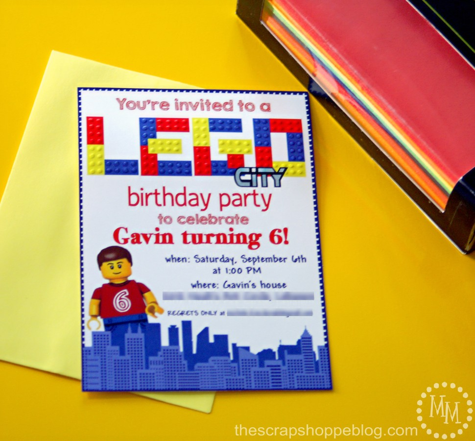 Lego Birthday Invitations - The Scrap Shoppe