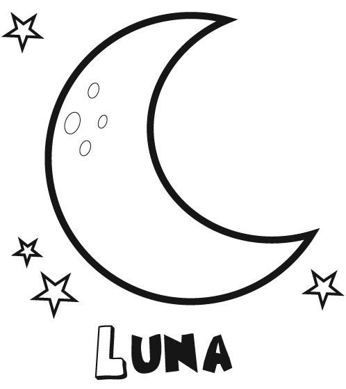 Dibujos para imprimir y colorear: Luna para colorear