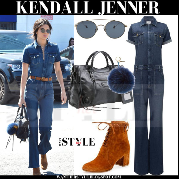 Kendall Jenner in denim frame denim francoise jumpsuit with brown suede gianvito rossi ankle boots what she wore streetstyle 2015