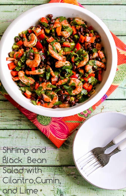 Shrimp and Black Bean Salad with Cilantro, Cumin, and Lime found on KalynsKitchen.com.