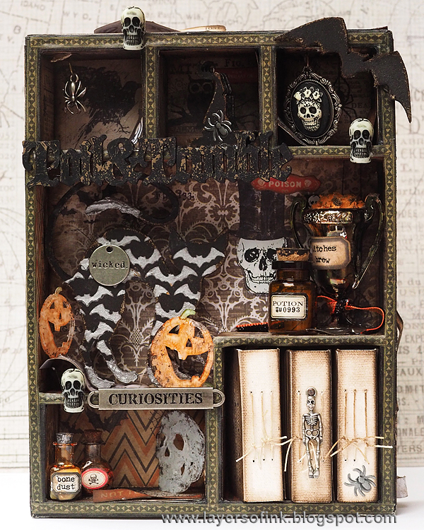 Layers of ink - Spooky Book Cabinet tutorial by Anna-Karin