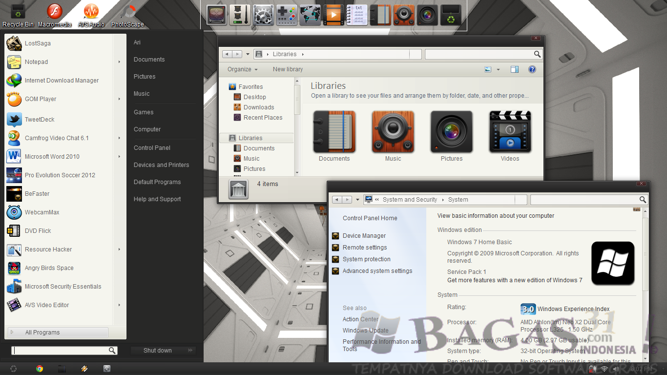 Screenshoot, Link MediaFire, Download Appows Skinpack for Windows 7 | Thema Skinpack | Mediafire