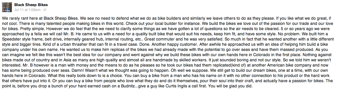 Today In Tabs Ello Darkness My Old Friend Bike Maker Black Sheep Also Alleged That Budnitz Stole Its Designs For His  Bikes Sample Essays For High School Students also Essay On English Subject  English Sample Essay