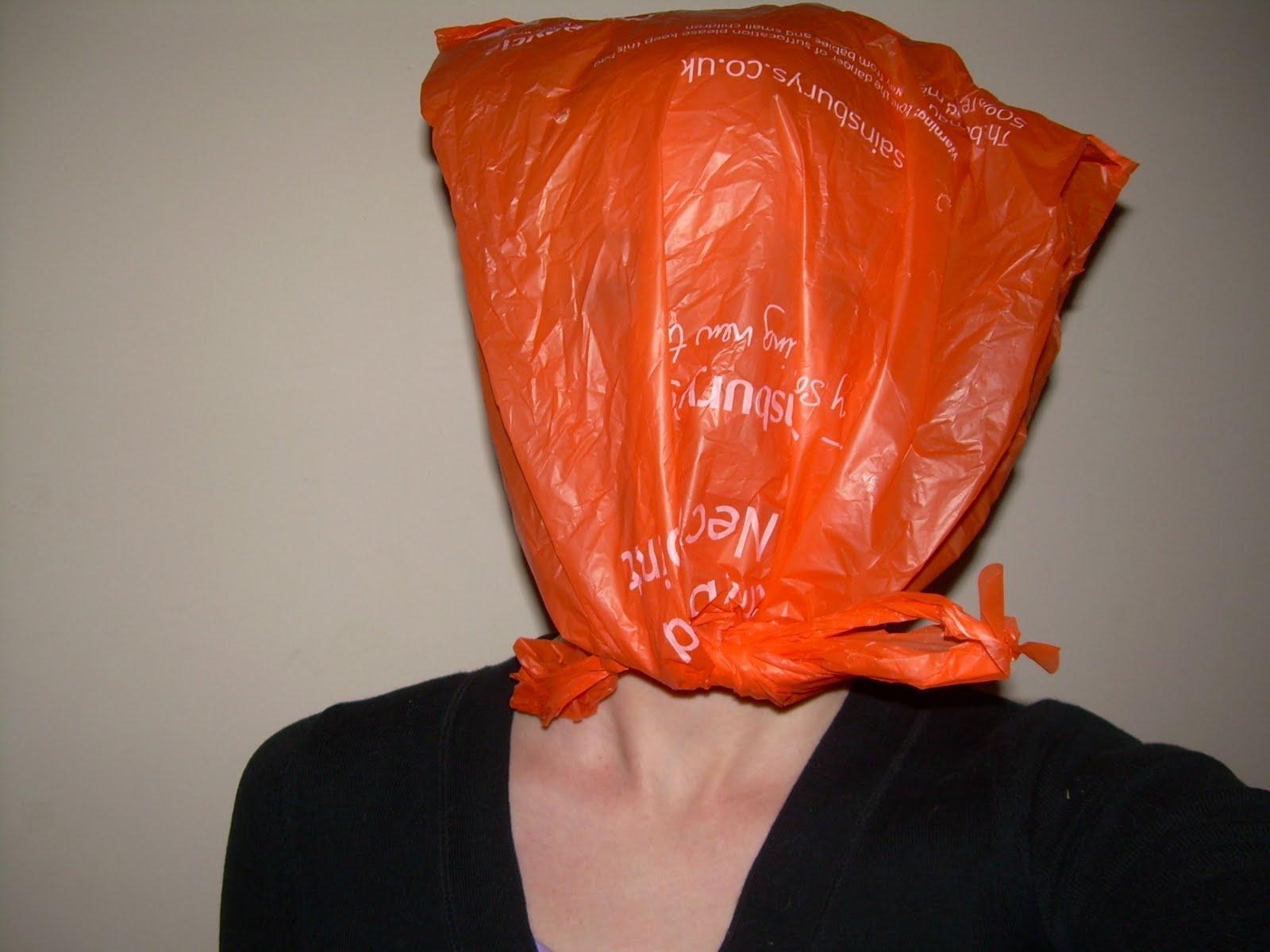 plastic bag on head