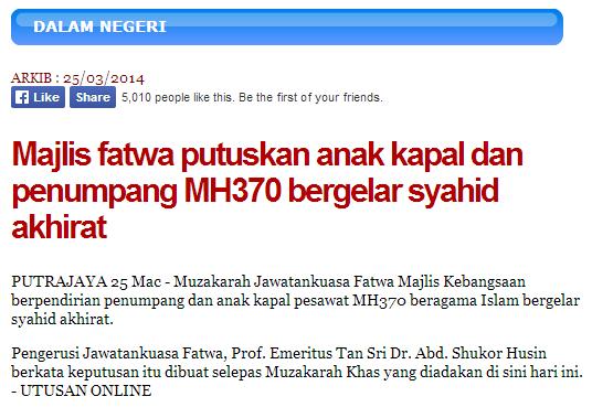 Utusan melayu, Utusan meloya, pray for mh370