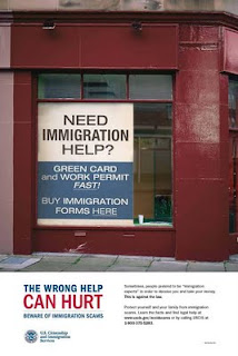 Poster: The Wrong Help Can Hurt – Beware of Immigration Scams.
