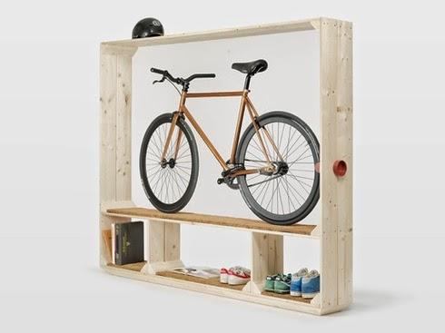este se llama shoes books and bike y permite almacenar la bicicleta como si fuera una vitrina tambin sirve para dejar los zapatos o el
