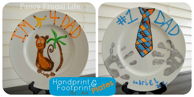 Father s day handprint footprint painted plates for Handprint ceramic plate ideas