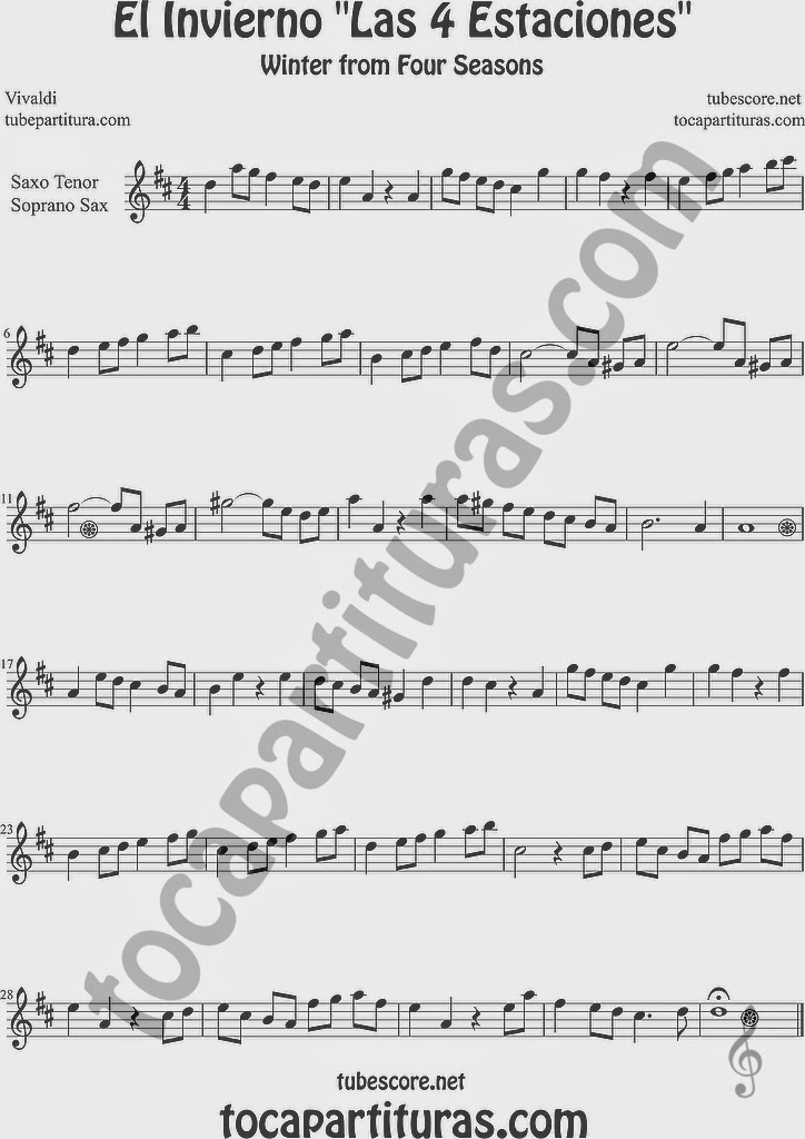 El Invierno Partitura de Clarinete Sheet Music for Clarinet Music Score Easy Winter From the Four Seasons El Invierno de Vivaldi Partitura Fácil  Partitura de Saxofón Soprano y Saxo Tenor Sheet Music for Soprano Sax and Tenor Saxophone Music Scores Easy Winter Sheet Music