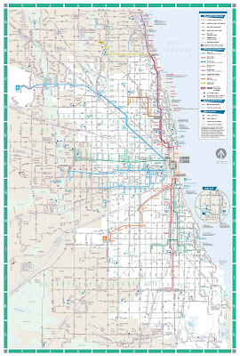 chicago map, road map, used for the great urban race