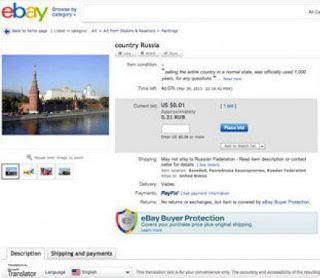 Usuário coloca a Rússia a venda no E-bay