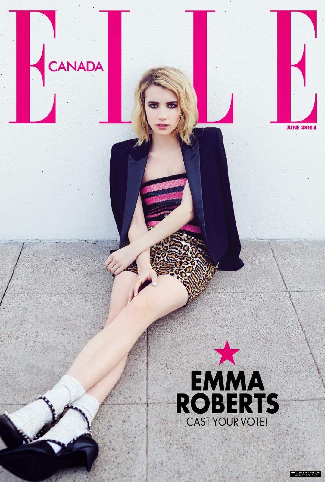 Emma Roberts For Elle Magazine, Canada, Junho 2014