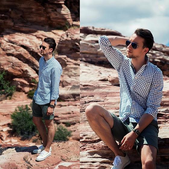 look moda hombre camisa shorts