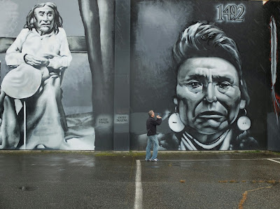 Close-up of Chief Seattle and Chief Joseph Panels with Person in for Size