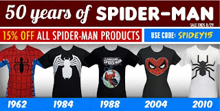 Click here to save 15% on Spider-Man t-shirts at SuperHeroStuff!