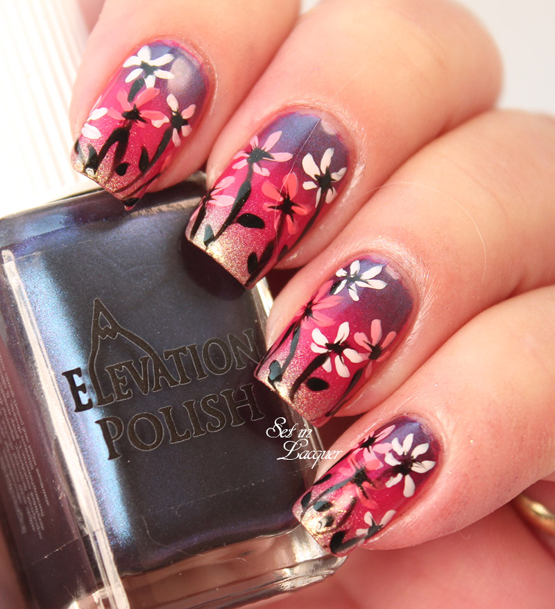Gradient Floral Nail Art using Elevation Polish