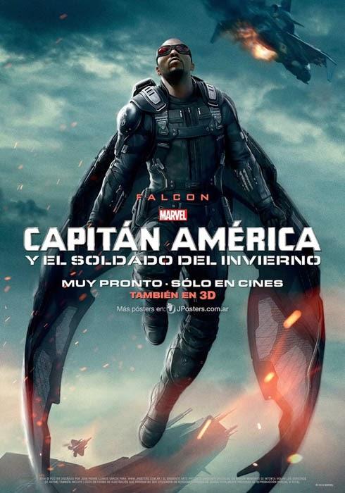 Anthony Mackie, El Halcon en el Poster individual de Capitan America: El Soldado de Invierno