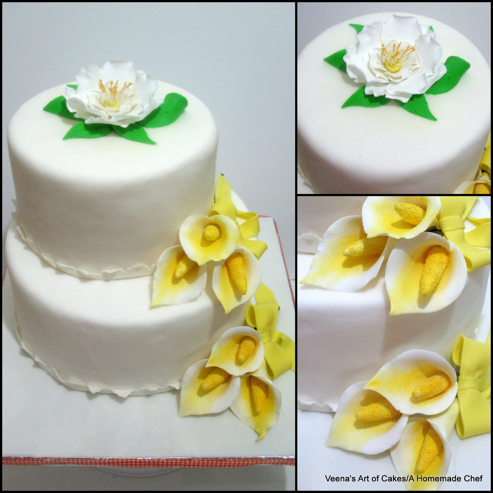 Two tier Calla wedding cake