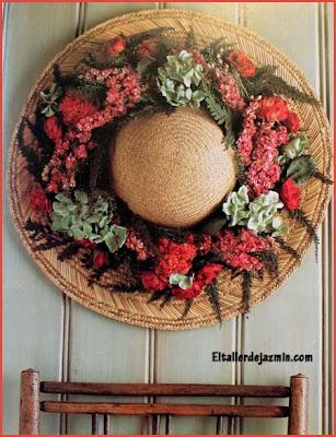 sombrero con hortensias