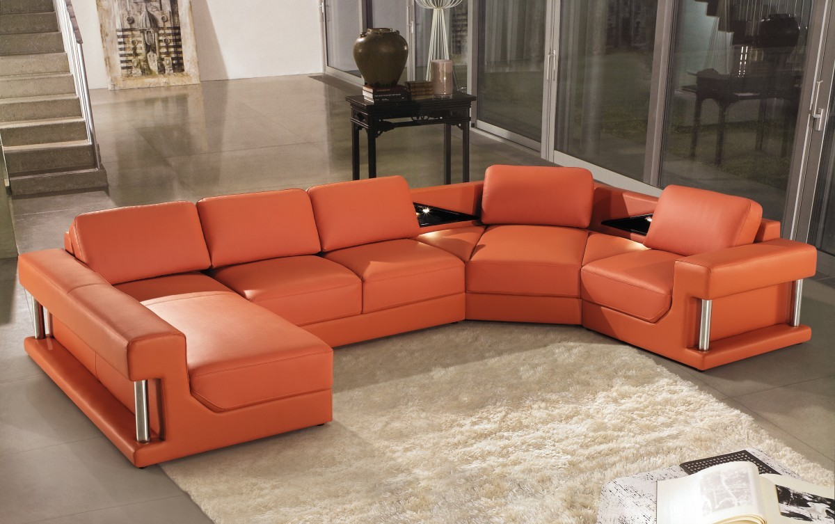 Terracotta Leather Sofa Contemporary Leather Sofa Orange Sam Levitz Furniture Thesofa