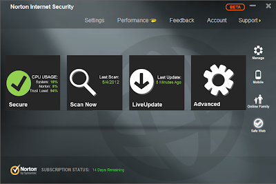 Norton Internet Security 2013 - Interface