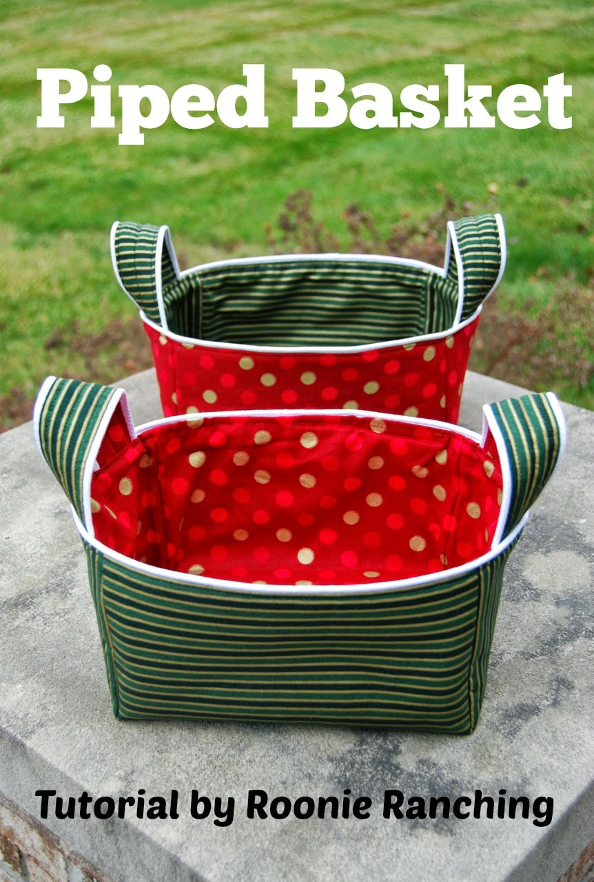 Fabric basket with handles sewing