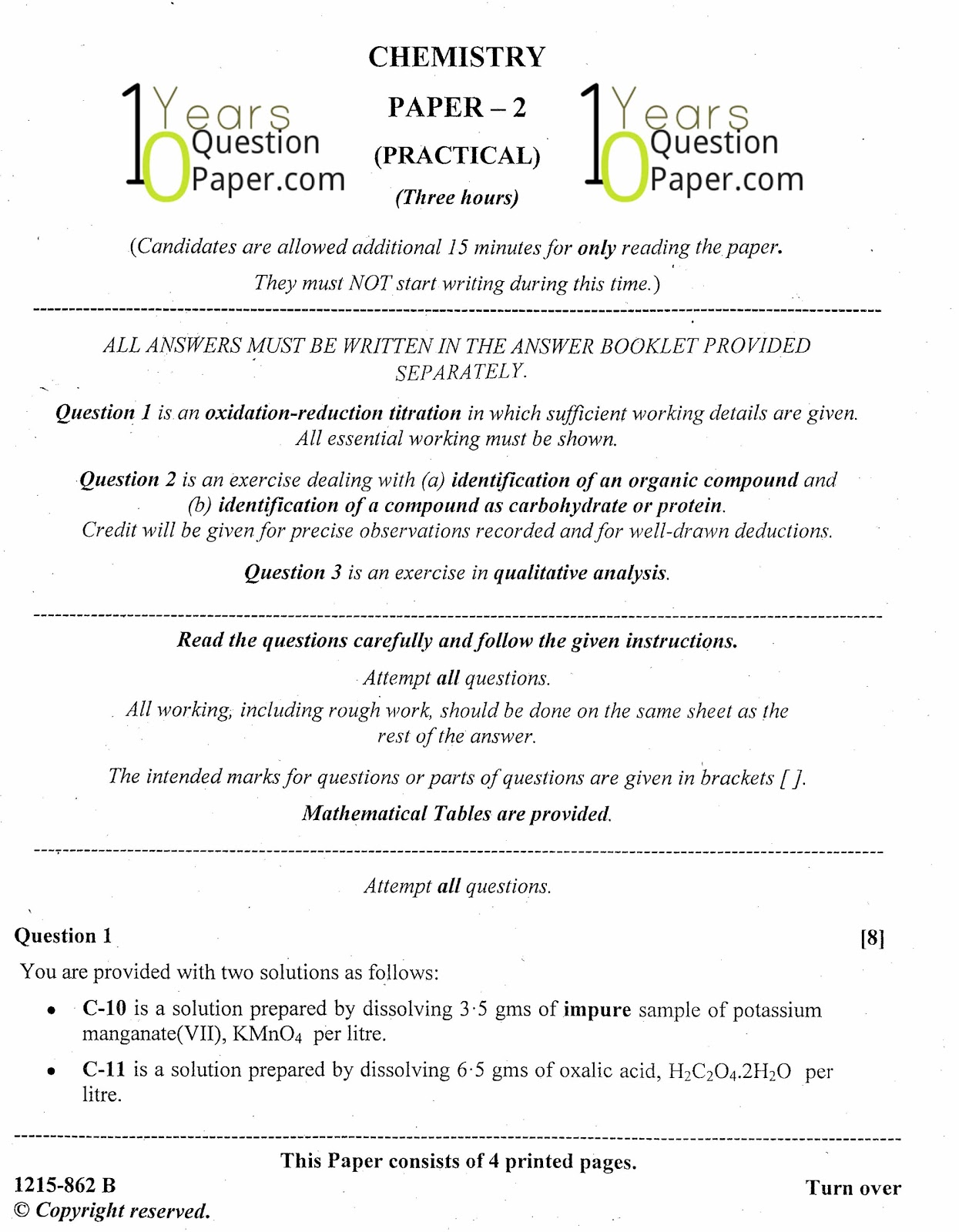 Isc 2015 chemistry practical class xii board question paper 10 isc 2015 class 12th chemistry practical question paper malvernweather Image collections