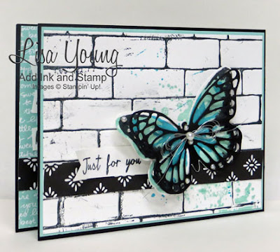 Watercolor Wings, Stampin' Up! Butterfly on brick background opens when pulled to reveal a butterfly that pops up. Windshield Wiper card by Lisa Young, Add Ink and Stamp