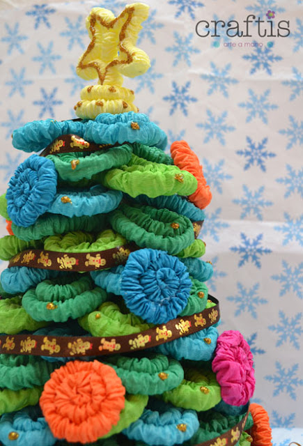 Navidad, arbolito de navidad, como hacer un arbolito de navidad, como hacer un arbolito de navidad de papel, manualidades navideñas, papel crepe