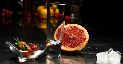 Shot naranja y frutilla