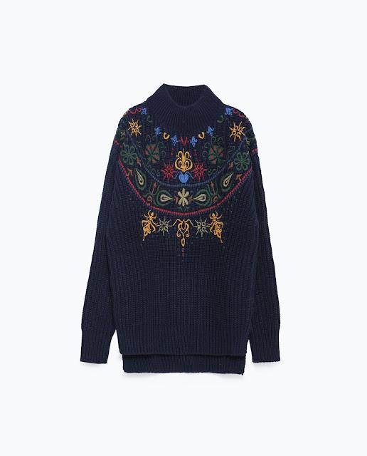 zara embroidered jumper, embroidered jumper, navy embroidered jumper,