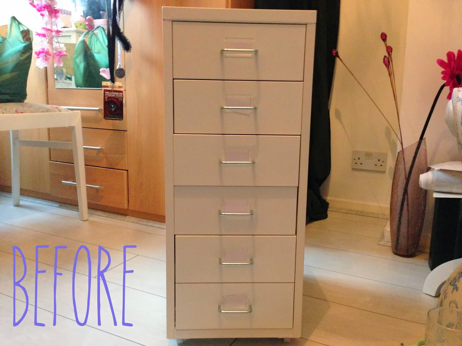 before picture in DIY tutorial for shabby chic IKEA helmer hack