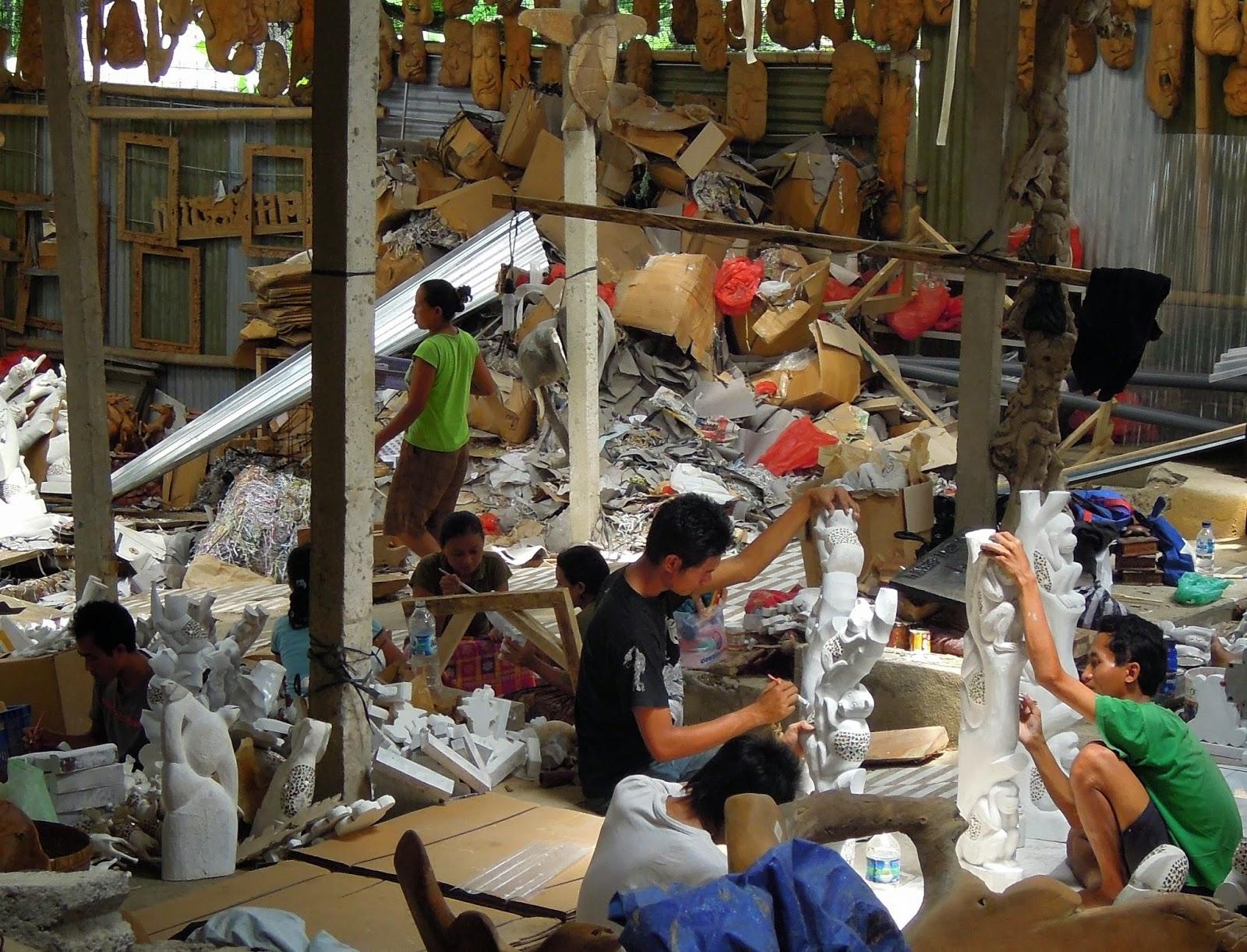 Balinese woodcarvers, furniture, re-purposed wood