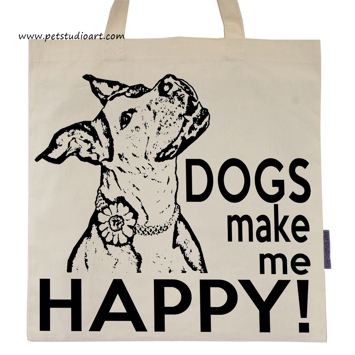 Dogs Make Me Happy Tote Bag  $15
