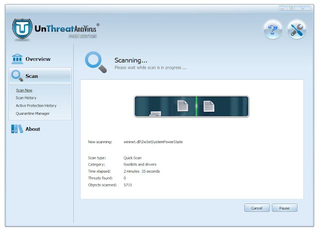UnThreat Free Antivirus 2013 - Scanning