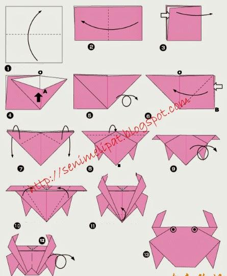 Cara Membuat Kepiting Dari Kertas Origami Seni Melipat