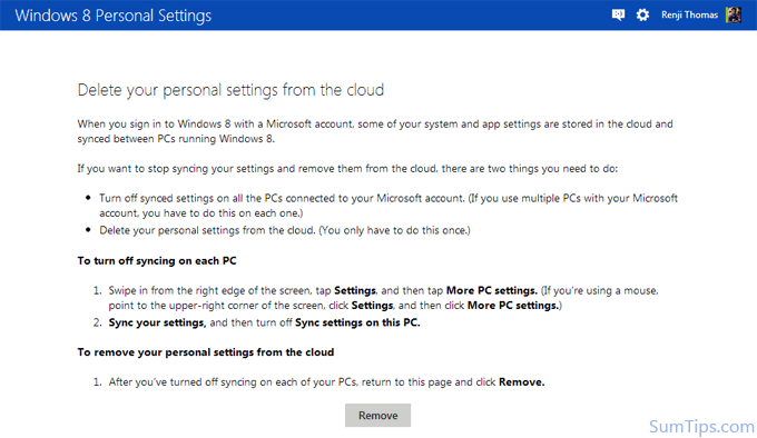 How to Delete Windows 8 Synced Settings from Microsoft Account